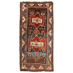 Antique Shirvan Geometric Red and Blue Wool Runner