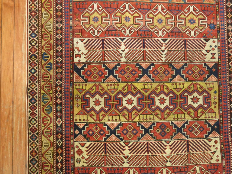 A geometric tribal looking Caucasian shirvan rug from the end of the 19th century.  3'9'' x 5'3''  Antique Caucasian rugs from the Shirvan district village are still considered one of the best decorative and collector type of rugs from that the