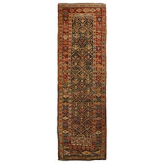 Antique Shirvan Red and Beige Geometric Wool Runner