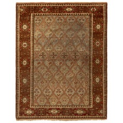 Antique Shirvan Rug Geometric Beige Red and Green Transitional Pattern