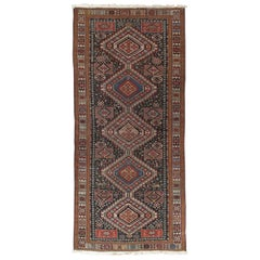 Antique Shirvan Rug, Hand Knotted, Wool Oriental Rug Navy Blue, Red, Beige, Grey