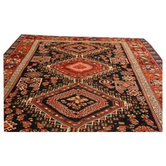 Antique Shirvan Transitional Geometric Red and Blue Wool Rug