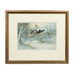 Antique Shooting Print, Game Birds by Archibald Thorburn, Winter, Pub, 1925