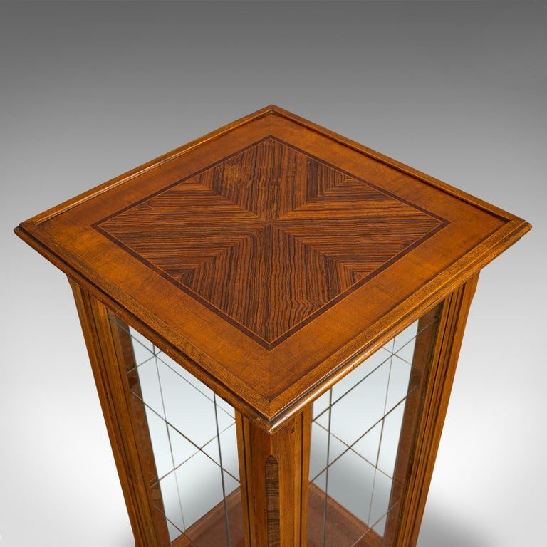 Antique Shop Display Cabinet, English, Oak, Walnut, Showcase, Edwardian For Sale 5