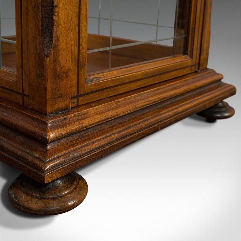 Antique Shop Display Cabinet, English, Oak, Walnut, Showcase, Edwardian For Sale 7