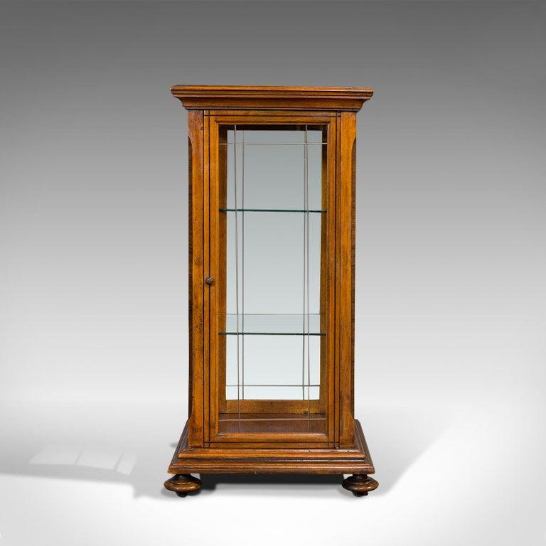 British Antique Shop Display Cabinet, English, Oak, Walnut, Showcase, Edwardian For Sale