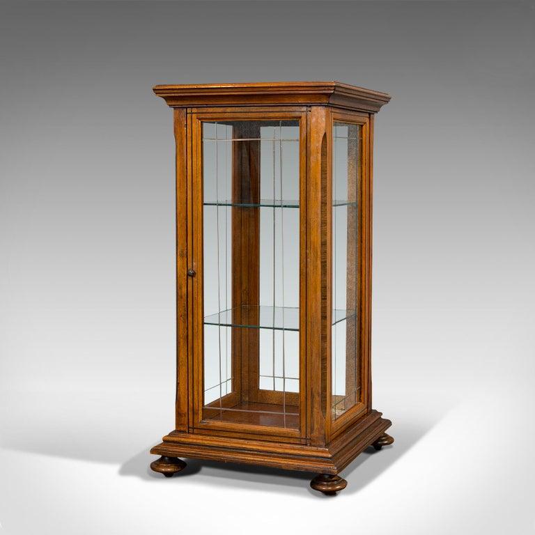 Antique Shop Display Cabinet, English, Oak, Walnut, Showcase, Edwardian In Good Condition For Sale In Hele, Devon, GB