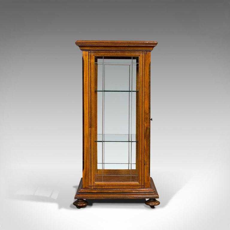 20th Century Antique Shop Display Cabinet, English, Oak, Walnut, Showcase, Edwardian For Sale