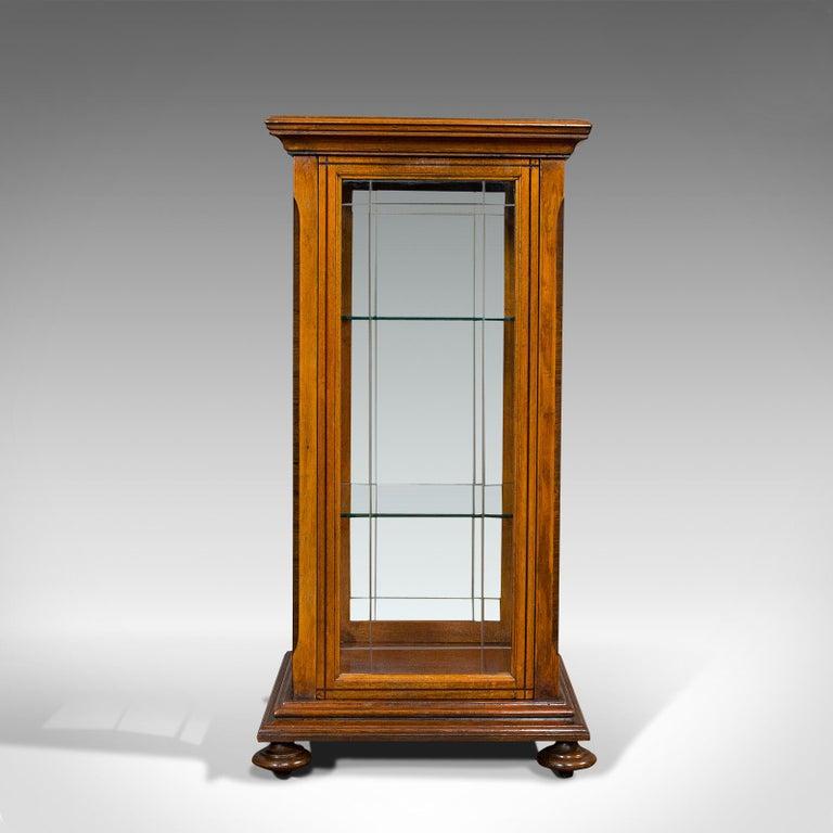 Antique Shop Display Cabinet, English, Oak, Walnut, Showcase, Edwardian For Sale 1