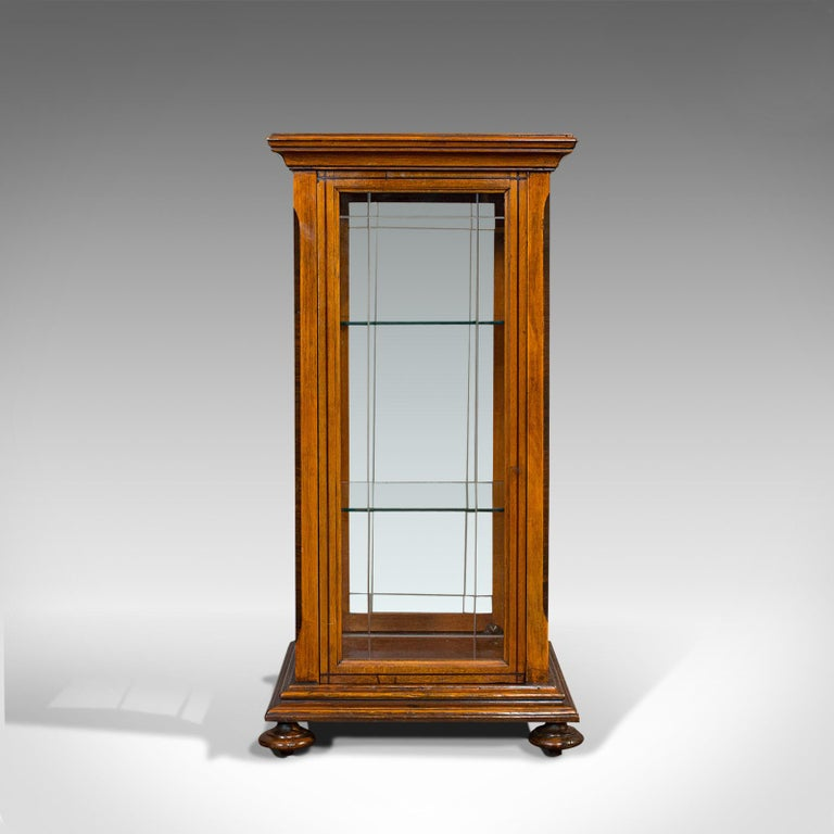 Antique Shop Display Cabinet, English, Oak, Walnut, Showcase, Edwardian For Sale 2