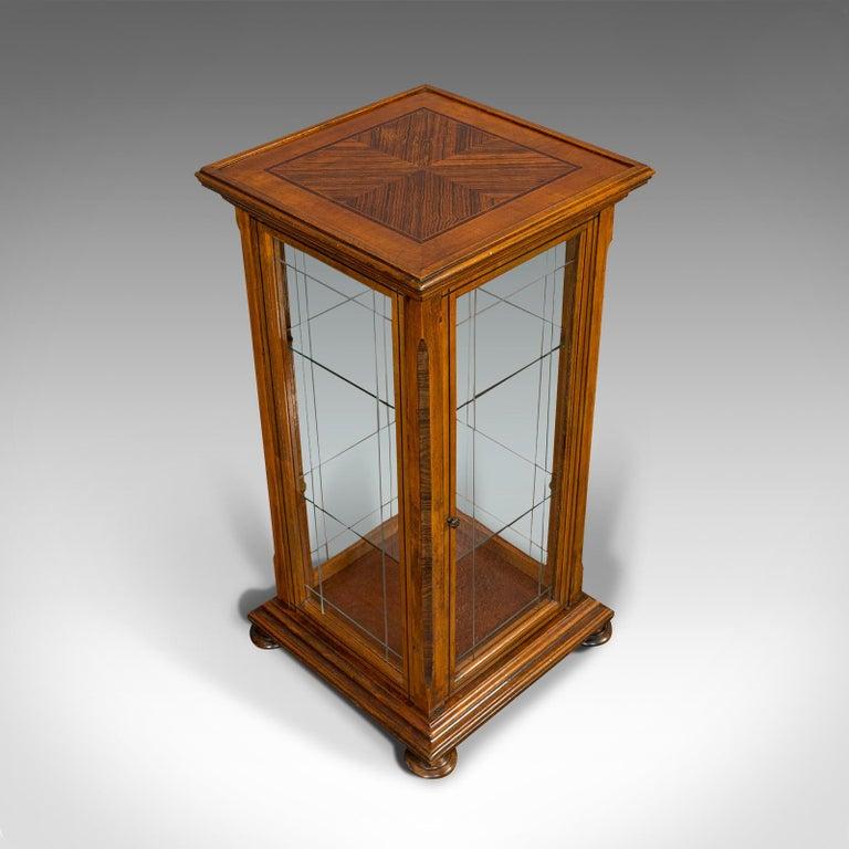 Antique Shop Display Cabinet, English, Oak, Walnut, Showcase, Edwardian For Sale 3