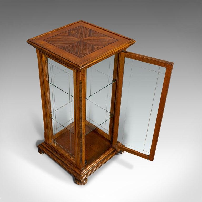 Antique Shop Display Cabinet, English, Oak, Walnut, Showcase, Edwardian For Sale 4