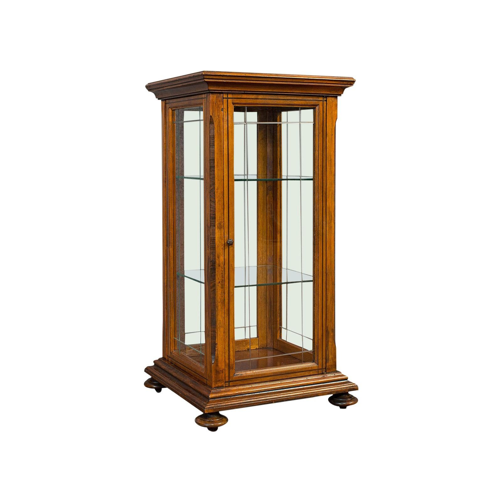 Antique Shop Display Cabinet, English, Oak, Walnut, Showcase, Edwardian