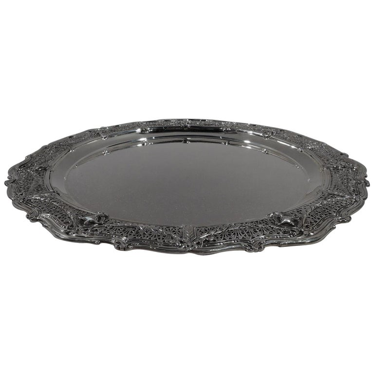 Antique Shreve Sterling Silver Tray in Desirable Adam Pattern For Sale