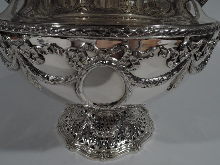 Antique Shreve Sterling Silver Wine Cooler in Adam Pattern For Sale 1