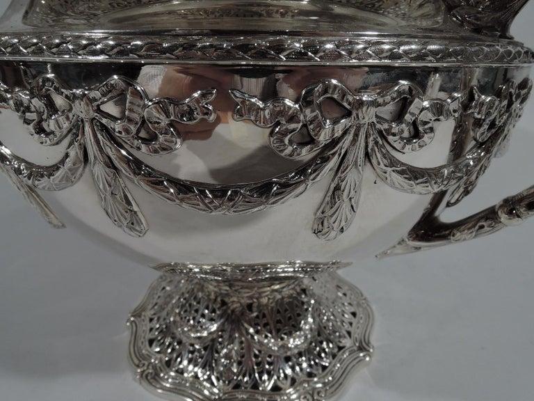 Antique Shreve Sterling Silver Wine Cooler in Adam Pattern For Sale 2