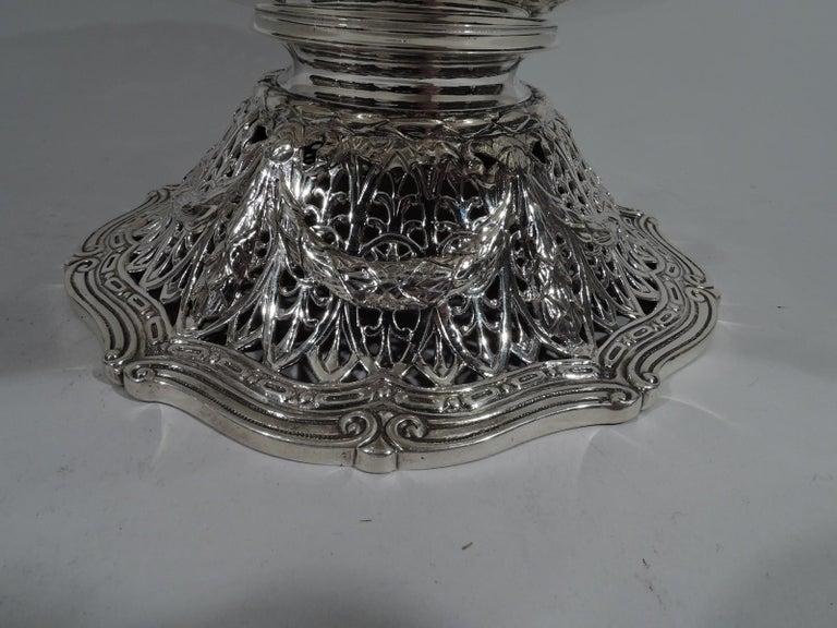 Antique Shreve Sterling Silver Wine Cooler in Adam Pattern For Sale 3