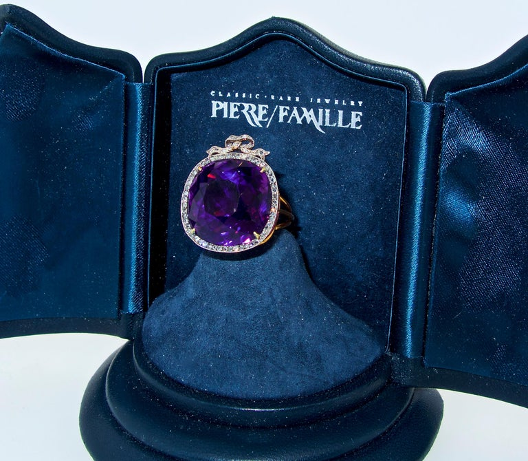 Antique Siberian Amethyst and Diamond Ring, circa 1890 For Sale 5