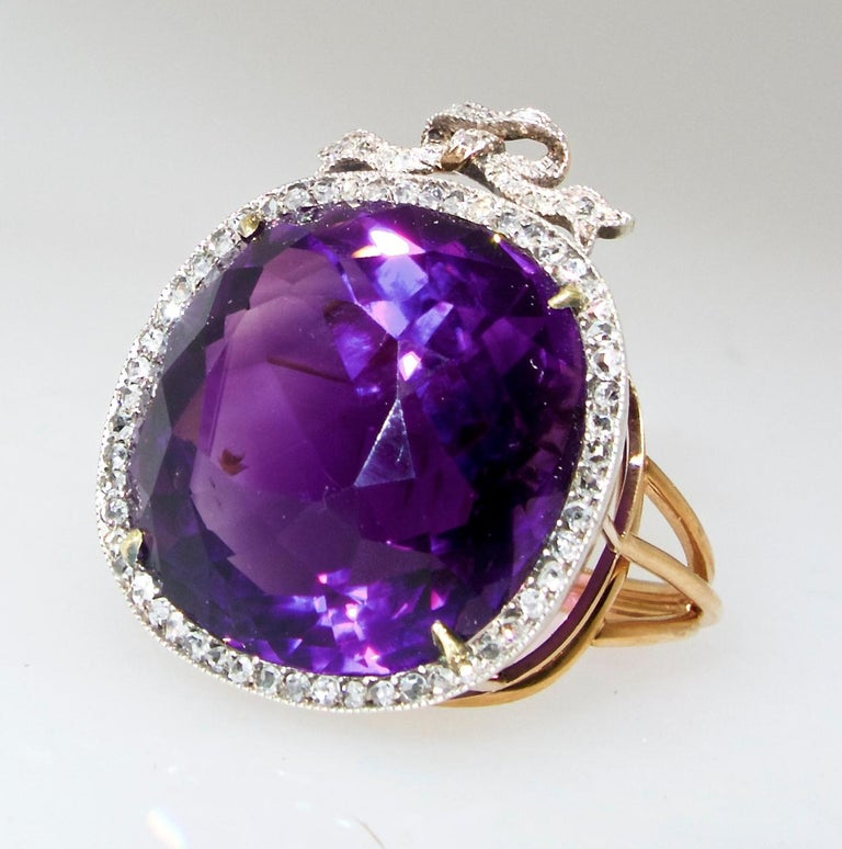 Victorian Antique Siberian Amethyst and Diamond Ring, circa 1890 For Sale