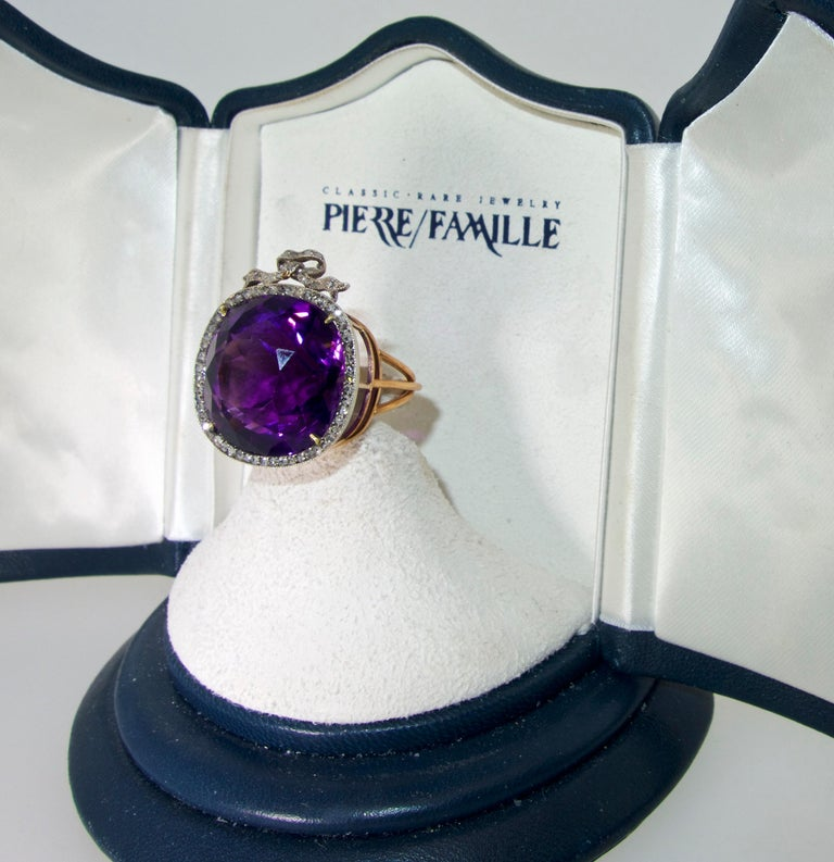 Women's or Men's Antique Siberian Amethyst and Diamond Ring, circa 1890 For Sale