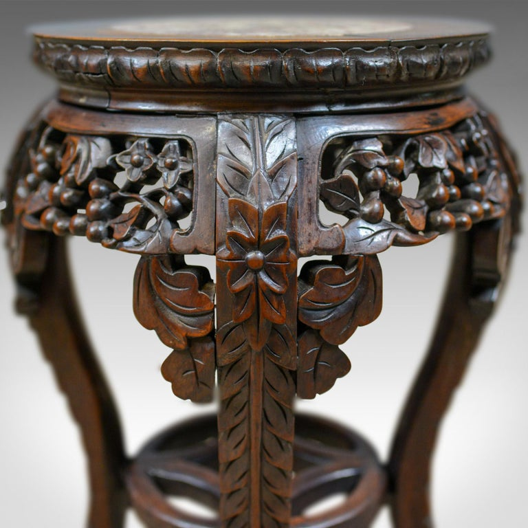 Antique Side Table Carved Chinese Stand Teak Marble