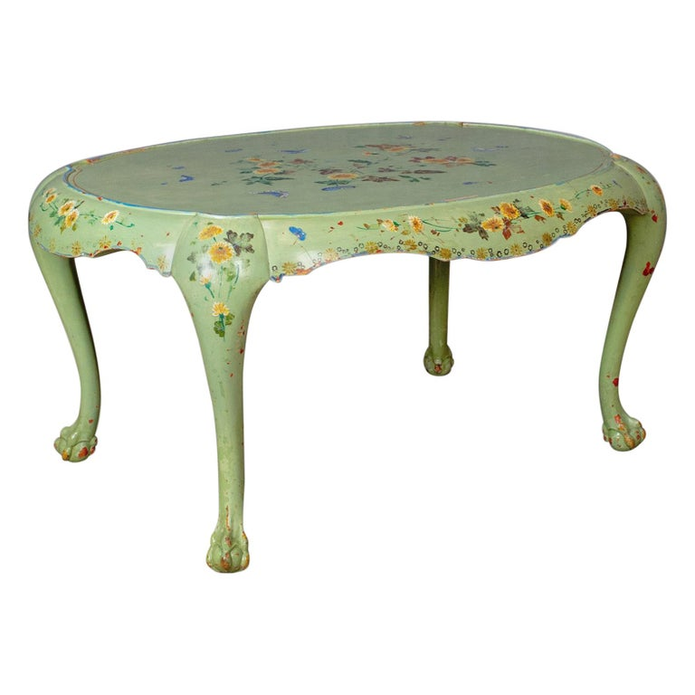 French Provincial Coffee Table For Sale: Antique Side Table, French, Country, Hand-Painted, Coffee