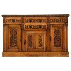 Antique Sideboard, Carved Oak, Oak Buffet, Credenza, Scotland, 1910, B1579