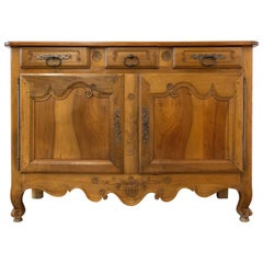 Antique Sideboard Dresser French Louis XV Carved Walnut Buffet, 19th Century
