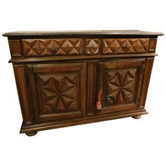 Antique Sideboard in Walnut and Oak Carved with Diamond, Brown, 1600, Italy