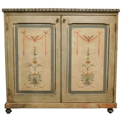 Antique Sideboard, Small Cabinet, Light Blue Painted Grotesque,'800, Italy
