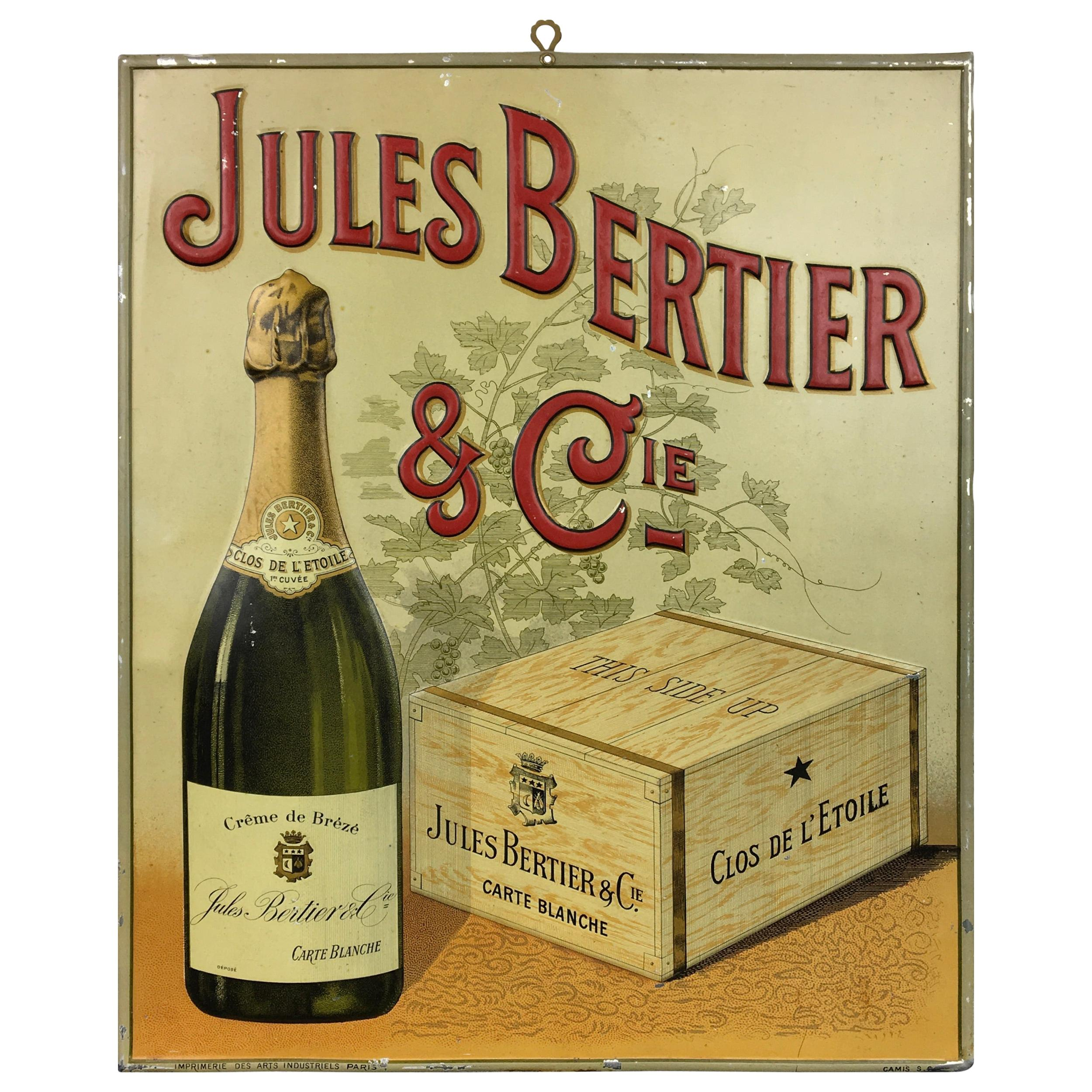 Antique Sign Champagne Jules Bertier, circa 1900, France