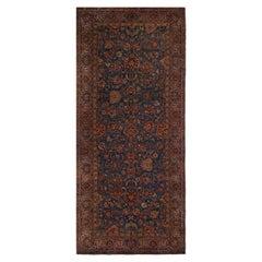 Antique Signature Kastikian Kerman Blue and Burgundy Wool Persian Rug