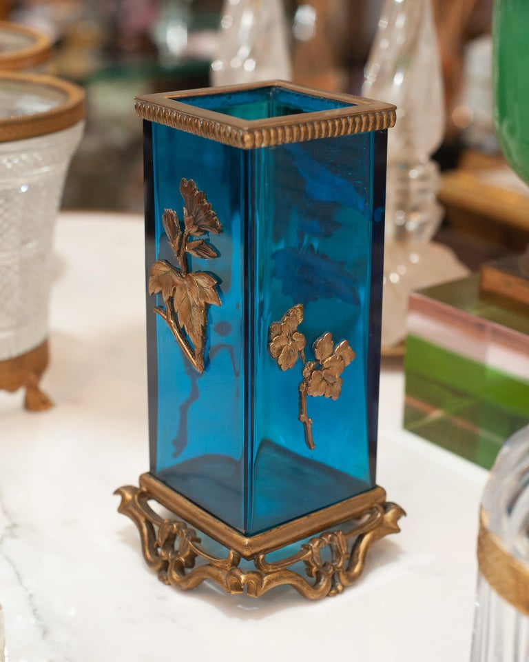 French Antique Signed Alphonse Giroux Japonisme Blue and Bronze Vase For Sale