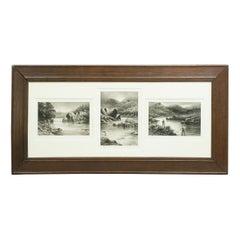 Antique Signed Douglas Adams Salmon Fishing Prints, Set of Three
