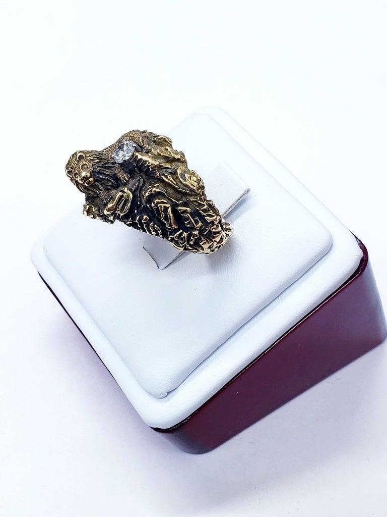 Artisan Antique Signed D.W. Lion Guarding F/VVS 0.30 Carat Diamond Ring For Sale