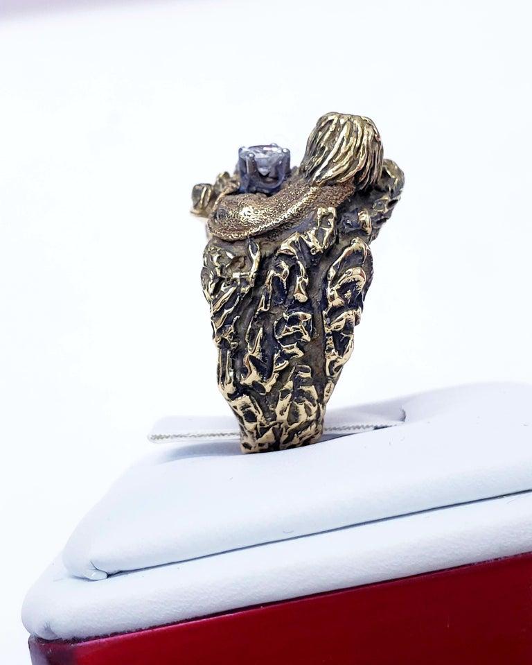 Round Cut Antique Signed D.W. Lion Guarding F/VVS 0.30 Carat Diamond Ring For Sale