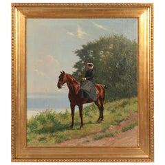 Antique Signed Oil Painting of Woman Riding Horseback Side Saddle