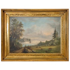 Antique Signed Original Landscape Painting Depicting an Open Field and Livestock