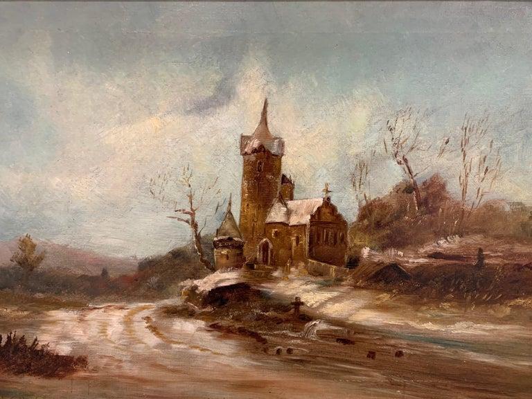 Louis XVI Antique Signed Original Oil Painting Landscape with Gothic Church For Sale