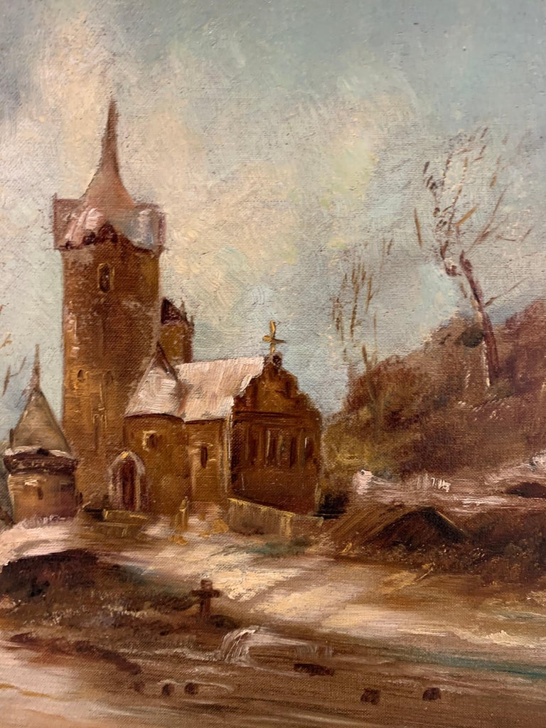 French Antique Signed Original Oil Painting Landscape with Gothic Church For Sale