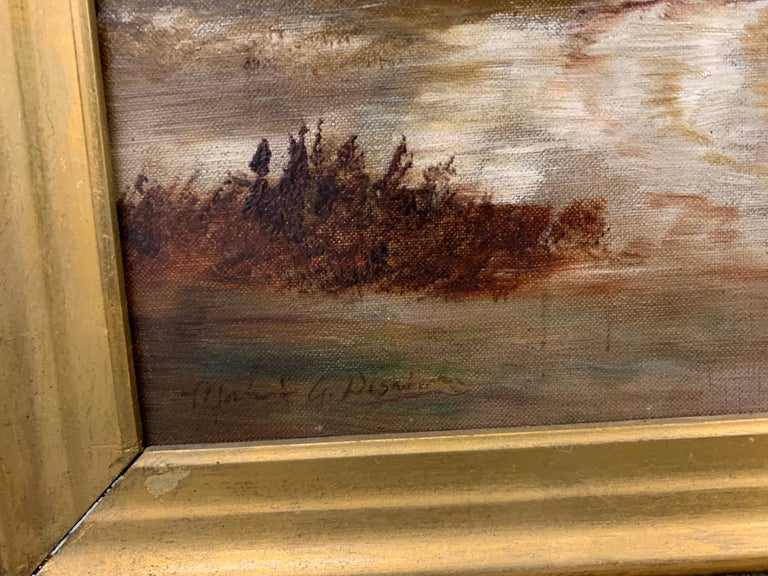 Antique Signed Original Oil Painting Landscape with Gothic Church In Good Condition For Sale In West Hartford, CT