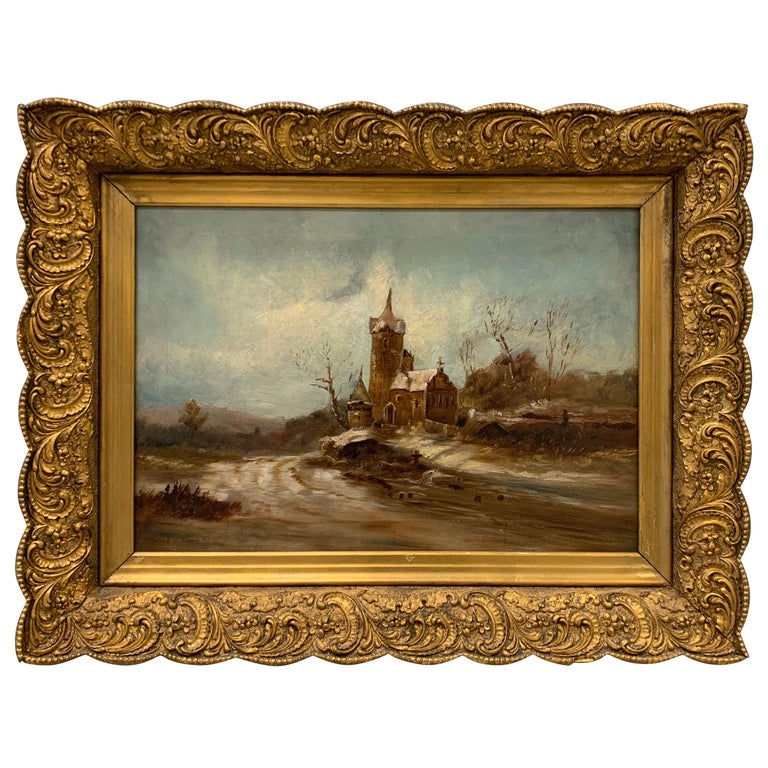 Antique Signed Original Oil Painting Landscape with Gothic Church For Sale