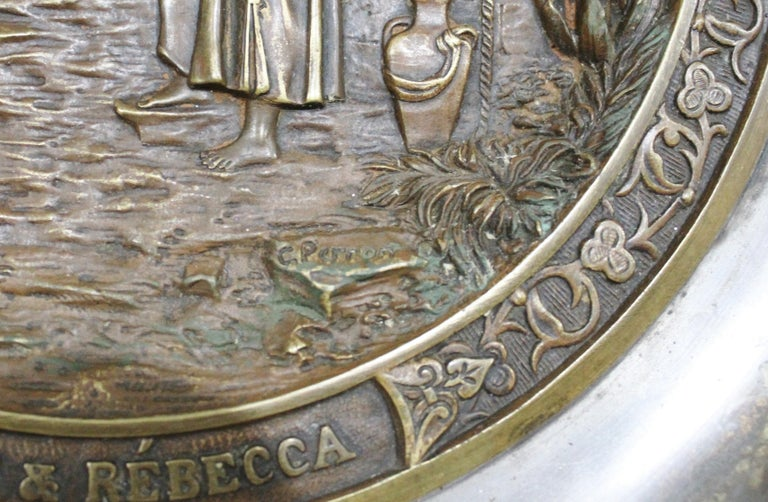 French C. Perron Antique Cast Bronze Tazza with Judaic Motif   For Sale