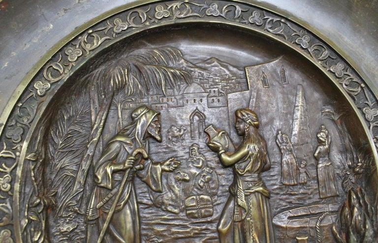 C. Perron Antique Cast Bronze Tazza with Judaic Motif   In Good Condition For Sale In Hamilton, Ontario