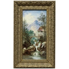 Antique Signed Swiss Landscape Painting on Tile, River Scene with Figure