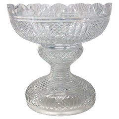 Antique Signed Waterford Crystal Punch Bowl, Circa 1920-1930