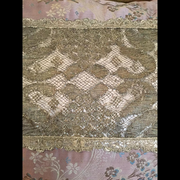 Antique Silk And French Needle Lace Pillow By Eleganza