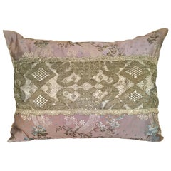 Antique Silk and French Needle Lace Pillow by Eleganza Italiana