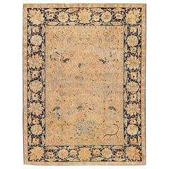 Antique Silk and Wool Hunting Design Indian Agra. Size: 12 ft 5 in x 16 ft 5 in