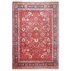 Antique Silk and Wool Persian Tehran Rug